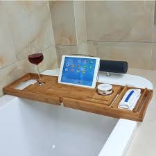 bathtub book holder bamboo flexible bathtub rack anti slip bathroom shelf bathroom frame for wine book bathtub book holder