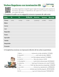 Er Chart Spanish Conjugating Er Regular Verbs In Spanish Present Pdf