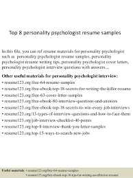 Top 8 personality psychologist resume samples In this file, you can ref  resume materials for ...