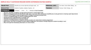 Vault Custodian Resume Resumes Templates