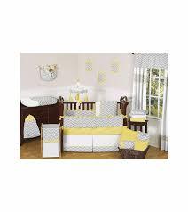 sweet jojo designs zig zag yellow grey chevron 9 piece crib bedding set