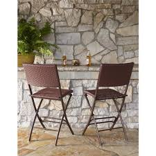 this review is from delray transitional steel brown red woven wicker high top folding patio bistro set of 2