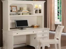 small white writing desk with hutch and armless chair