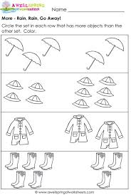 Rain go away, Worksheets and Rain on PinterestMore and Less Worksheets - Compare Numbers / Compare Sets