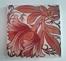 Ingles Floral Antiguo Porcelana J C Edwards Rara Rojo Lustre Azulejo
