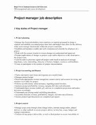 It Project Manager Job Description Management Construction Resumes