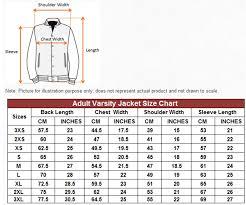Varsity Jacket Size Chart Ac 001 Varsity Jacket Ac Series T Shirt Printing