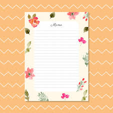Blank Memo With Watercolor Floral Background Vector