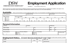 Employment Job Application Form Dsw Application Pdf Print Out