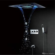 2019 Led Shower Head Waterfall Rainfall Bathroom Shower Faucets Mixer Massage 304 Sus 600800mm Shower Set Polished From Setsail411 143598