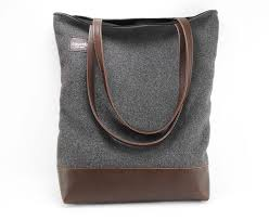 charcoal wool and vegan leather tote bag womens handbags belts bags