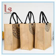 china whole custom logo printing slogan jute ping bag jute tote bag with leather handle china ping bag handbag