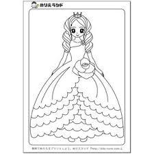 無料お姫様プリンセスかわいい女の子の塗り絵ぬりえ画像