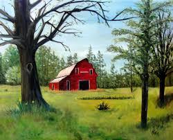 red barn in springtime