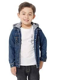 LOFIR Kids <b>Boys Girls Denim Jacket</b> Coat with Hooded Blue Jean ...
