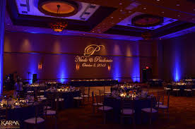 renaissance glendale blue wedding uplighting custom monogram gobo blue wedding uplighting