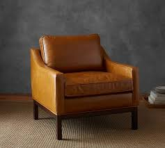 dale leather armchair pottery barn in tan chair prepare 0