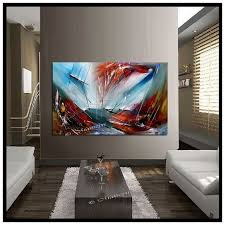 oversized large painting red tealabstract art modern artwork original deco textured multicolor canvas large artwork size 56 x 36 on