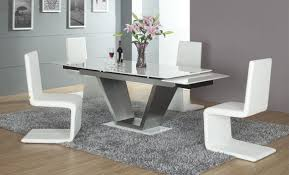 kitchen modern style dining room with cool kitchen table on grey fur rug and unique