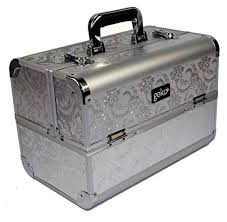 geko 1 piece vanity case makeup box silver leaf design