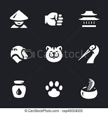 Vector Set Of Kung Fu Styles Icons
