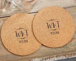 Wedding Coasters Vineyard Monogram Cork Coasters