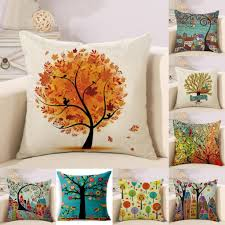 home decorative pillowcase throw pillow covers stunning printing tree square linen sofa couch chair back cushion case for living room bedroom hotel office