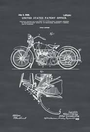 motorcycle wall art new patent print decor indian