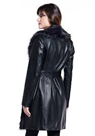 black fox faux leather belted trench