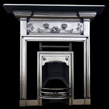 fully polished art nouveau cast iron fireplace combination with original hood and front bars