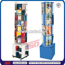 Wooden Book Display Stand TSDW100 Custom Floor Standing Rotating Mdf Wooden Magazine 24