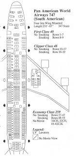 Vintage Airline Seat Map Pan Am Boeing 747 Pan Am Boeing