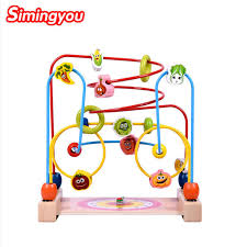 Wooden Bead Game Unique Simingyou Wooden Toy Cartoon Fruit And Vegetable Children Around The