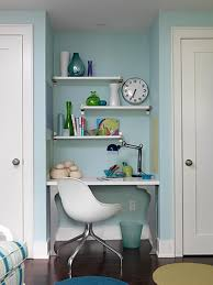 small office ideas. White Door On Pastel Blue Wall Paint And Floating Shelf In Small Home Office Ideas With T