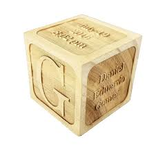 custom engraved wood baby birth block 2 5 add personalized text to the