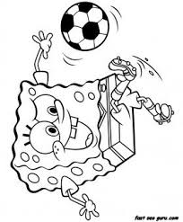 Print Out Spongebob Playing Soccer Coloring Page Printable