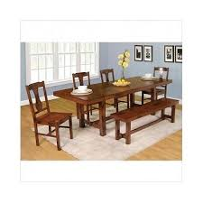 dining room set 6 pc dark oak table chairs bench leaf formal rustic furniture