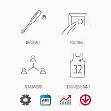 Baseball Signals Chart Football Team Assistant And Baseball Icons Teamwork Linear