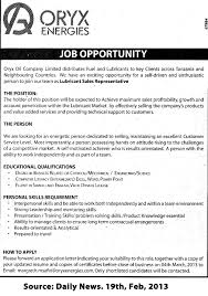 Sales Representative Job Description Lubricant Sales Representative TAYOA Employment Portal 6