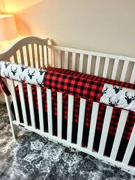 red and black crib bedding ivory with deer buffalo check chevron