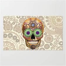 sugar skull artisan day of the dead paisley area rug