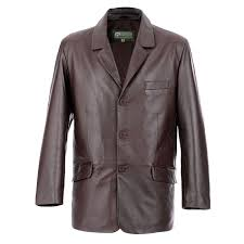 gents leather 3 on blazer brown 731