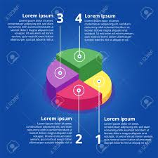 Pie Chart On Isolated Background Isometric Pie Charts Different