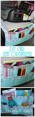 car seat organizer that you can just put on to the car seat it works as a caddy but also helps protect the car seat from spills and stains