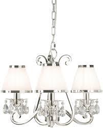oksana nickel 3 light chandelier crystal drops white shades