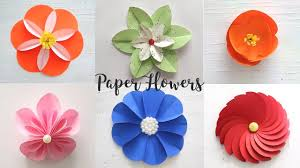 Paper Crafted Flowers 6 Easy Paper Flowers Craft Ideas Diy Flowers Youtube