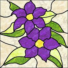 Stained Glass Flower Patterns Delectable Clematis Stained Glass Quilt Pattern PES48 Intermediate Wall