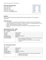 Sample Resume For Fresh Graduate Mechanical Engineering Menu And