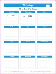 Birthday And Anniversary Calendar Template Free Printable Perpetual ...