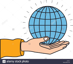 Chart Charity Colorful Silhouette Hand Palm Giving A Globe Chart Charity